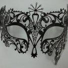 Sun Goddess Crystal Laser Cut Venetian Mask Masquerade BLACK Metal Filigree