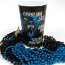 Carolina Panthers 22 oz Cup 12 Mardi Gras Beads Blue Black Party Supplies