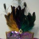 Purple Green Gold Metallic Venetian Peacock Feather Masquerade Mask