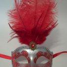 "Red Silver Venetian Mask Feather Masquerade Mardi Gras 12"""