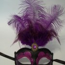 Purple Black Venetian Mask Feather Masquerade Mardi Gras 12""