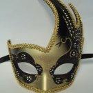 Black Gold Masquerade Swan Flame Mask Mardi Gras Ball Dance Prom