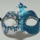Teal Crystal Fleur De Lis Masquerade Mardi Gras Mask Italy Italian Venetian Made