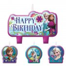 Disney Frozen 4 pc Candle Set Party Supplies Elsa Anna Olaf Happy Birthday