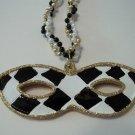 Black White Check Gold Mask Pendant Mardi Gras Bead New Party Favors