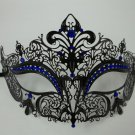 Black BLUE Rhinestone Laser Cut Venetian Mask Masquerade Prom Metal Filigree