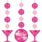 Fabulous Pink Cocktail Drink Birthday Party Supplies Hanging Cutouts 3ct Cheers