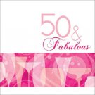 50 & Fabulous 50th Pink Cocktail Birthday Party Supplies Lunch Napkins 16 ct
