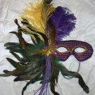 Mardi Gras Yellow Green Purple Feather Mask Masquerade