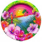 "Luau Hibiscus Flower Parrot Beach 7"" Dessert Cake Plates 8 ct Party Supplies"