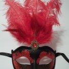 "Red Black Venetian Mask Feather Masquerade Mardi Gras 12"""