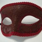 Dark Red Venetian Half Jester Mask Masquerade Glitter fancy dress costume