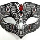 Black RED Male Diamond Design Laser Cut Venetian Masquerade Metal Mask Men