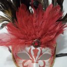 Red Jewel Venetian Feather Masquerade Mask