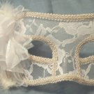 White Lace And Flower Sheer Mardi Gras Masquerade Mask