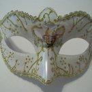 White Pearl Small Venetian Masquerade Mask Mardi Gras