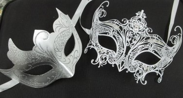 White Regal Laser Venetian Couples Man Woman Masquerade Metal Mask Set