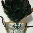 Green Gold Jewel Venetian Feather Masquerade Mask