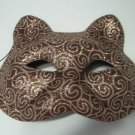 Cat Face Brown And Gold Glitter Mask Halloween Costume Party