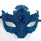 TURQUOISE BLUE Macrame Crochet Lace Crystal Venetian Masquerade Mardi Gras Mask