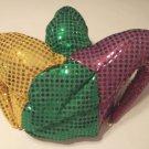 Mardi Gras Sequin Jester Hat Bells Purple Green Gold