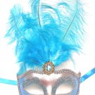 Turquoise Blue Silver Venetian Mask Feather Masquerade Mardi Gras 12""