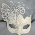 White Metal Filigree Wedding Dance Crystal Butterfly Masquerade Party Mask