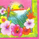 Luau Hibiscus Flower Parrot Beach Beverage Napkins 16 ct Party Supplies