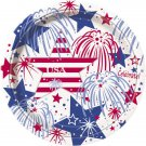 """USA Fireworks July 4th 9"""" Dinner Plates 8ct Party Supplies Memorial Veterans Day"""