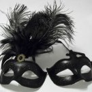 Ebony Black Matching His Hers Couples Combo Masquerade Mardi Gras Masks