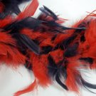 "Navy Red Feather Boa 6Ft 6 ft 72"" Masquerade Costume Dress Up Chandelle"