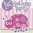 1st Birthday Ladybug Pink Party Supplies Invitations 8 ct