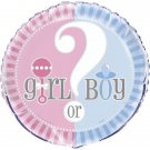 "Gender Reveal Party Supplies Girl Boy ? Baby Shower 18"" Foil Mylar Balloon"