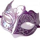 Purple Gray Silver Venetian Mask Masquerade Mardi Gras Free Shipping