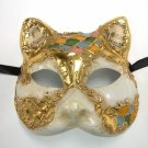 Venetian Cat Antique White Paper Mache Masquerade Mask Music Green Pink Blue