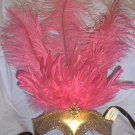 Hot Pink Gold Venetian Feather Masquerade Mardi Gras Prom Mask