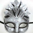 Black Silver Venetian Mask Masquerade Mardi Gras Party Leaf Cascade Crystal