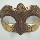 Brown Gold Scroll Mardi Gras Masquerade Small Teen Kid Mask