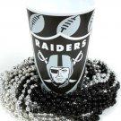 Oakland Raiders 22 oz Cup 12 Mardi Gras Beads Black Silver Party Supplies