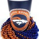 Denver Broncos 22 oz Cup 12 Mardi Gras Beads Blue Orange Party Supplies