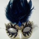 Navy Gold Pearl Venetian Feather Mardi Gras Mask