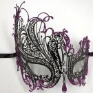 Black PURPLE Rhinestone Swan Laser Cut Venetian Mask Masquerade Metal Filigree