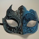 Light Blue Aqua Black Venetian Mask Masquerade Mardi Gras Free Shipping Unique