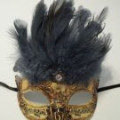 Gray Small Venetian Feather Mask Mardi Gras Masquerade