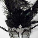 Silver Black Jewel Feather Venetian Mardi Gras Masquerade Mask Fifty Shades