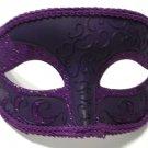 Dark Purple Elegant Crescent Glitter Venetian Half Jester Masquerade  Mask