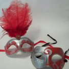 Red Silver Couples Man Woman Masquerade Mardi Gras Masks Male Female Set