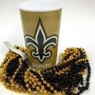 New Orleans Saints 22 oz Cup 12 Mardi Gras Beads Black Gold Party Supplies Favor