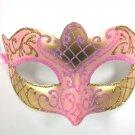 Light Pink Gold Scroll Mardi Gras Masquerade Small Teen Kid Mask