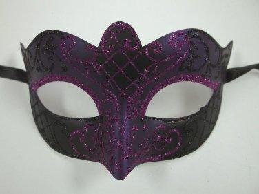 Black Purple Scroll Mardi Gras Masquerade Venetian Ball Prom Small Teen Kid Mask